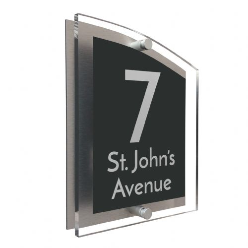 Arc Shape - Clear Acrylic House Sign - Anthracite Colour with White text in Font  3